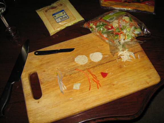 Cookin' a Veggie Taco for my hamster Lucy.