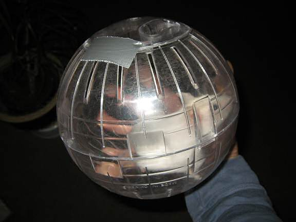 Picture of the Explorer ball locked with (a piece of) Ducktape and my hamster Lucy in it.