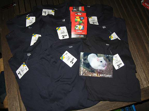 Overly dramatic photograph of wanna-bee HamsterTracker.com shirts.