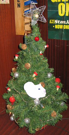 Picture of virtual hamster Lucy, climbing in a Xmas tree.