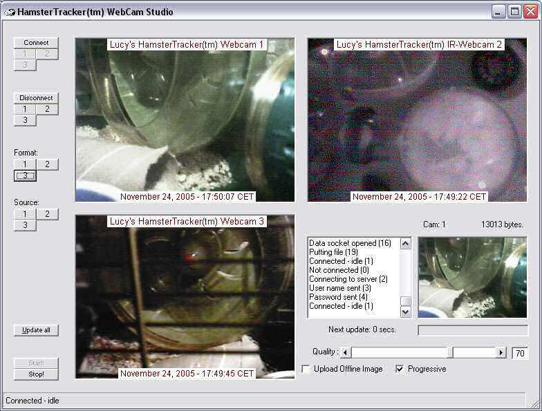 Screenshot of the HamsterTracker Webcam Studio, in action.